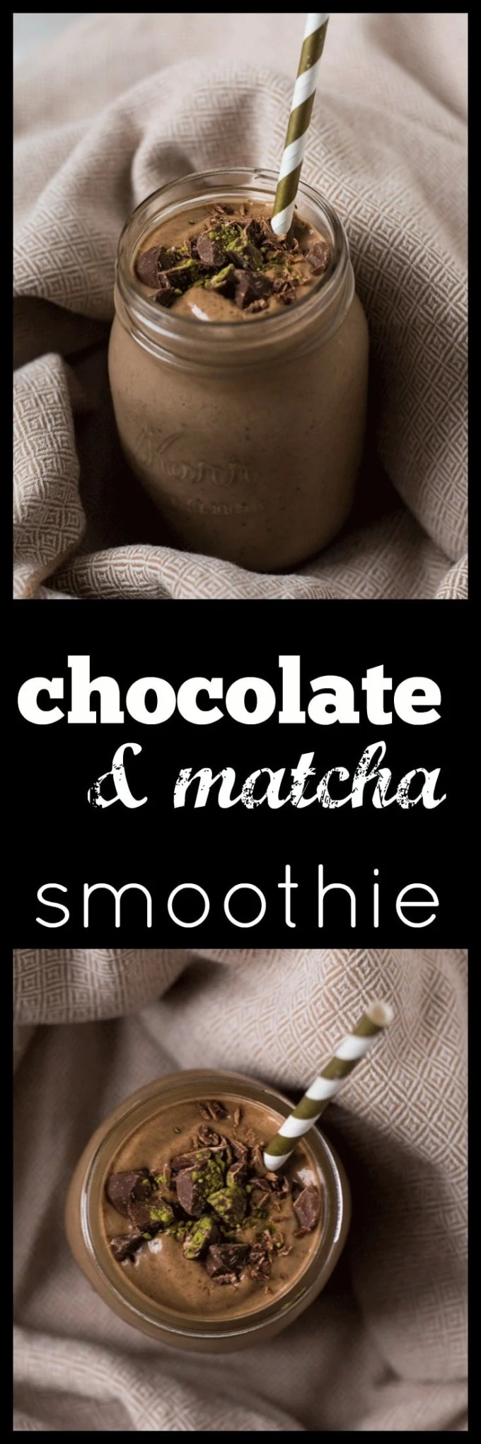 Re-energize with a creamy and decadent Chocolate Matcha Smoothie. Full of good, real food but tastes like dessert. Vegan, refined sugar free