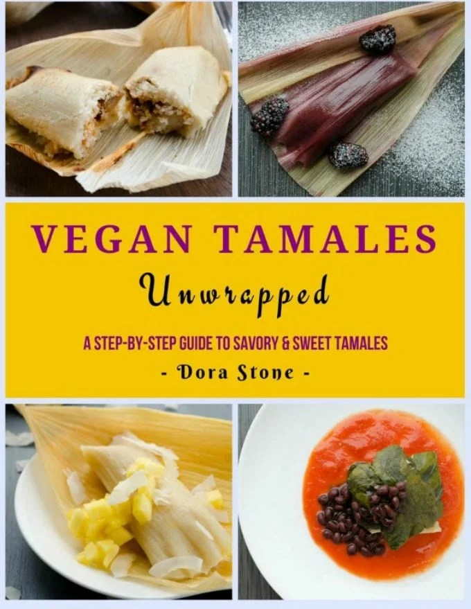 The front cover of Vegan Tamales featuring Potato Adobo Vegan Tamales