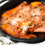 Spinach, Mushroom and Ricotta Cheese Manicotti Skillet.