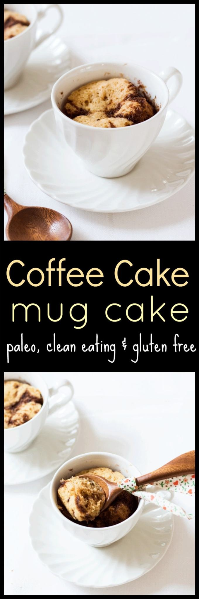 Moist, healthy, delicious and ready in less than five minutes, this Coffee Cake Mug Cake is the perfect dessert to serve up when that sweet craving hits