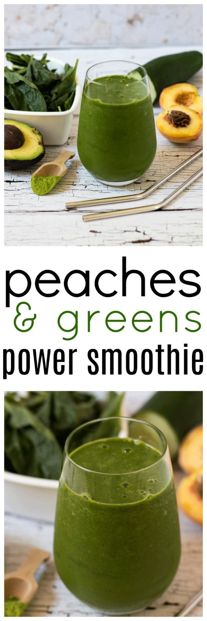 Squeeze as much goodness as you can into one smoothie with this super delicious Peaches and Green Power Smoothie packed with all the green goods.