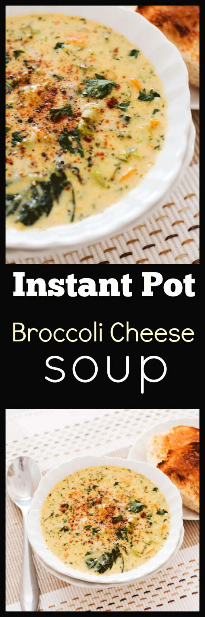 This easy Instant Pot Broccoli Cheese Soup is loaded with veggies, SUPER CHEESY and needs just a handful of ingredients you will already have on hand. Ready in only 20 minutes it makes the perfect midweek bowl of comfort.