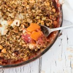 Strawberry Peach and Hazelnut Crumble