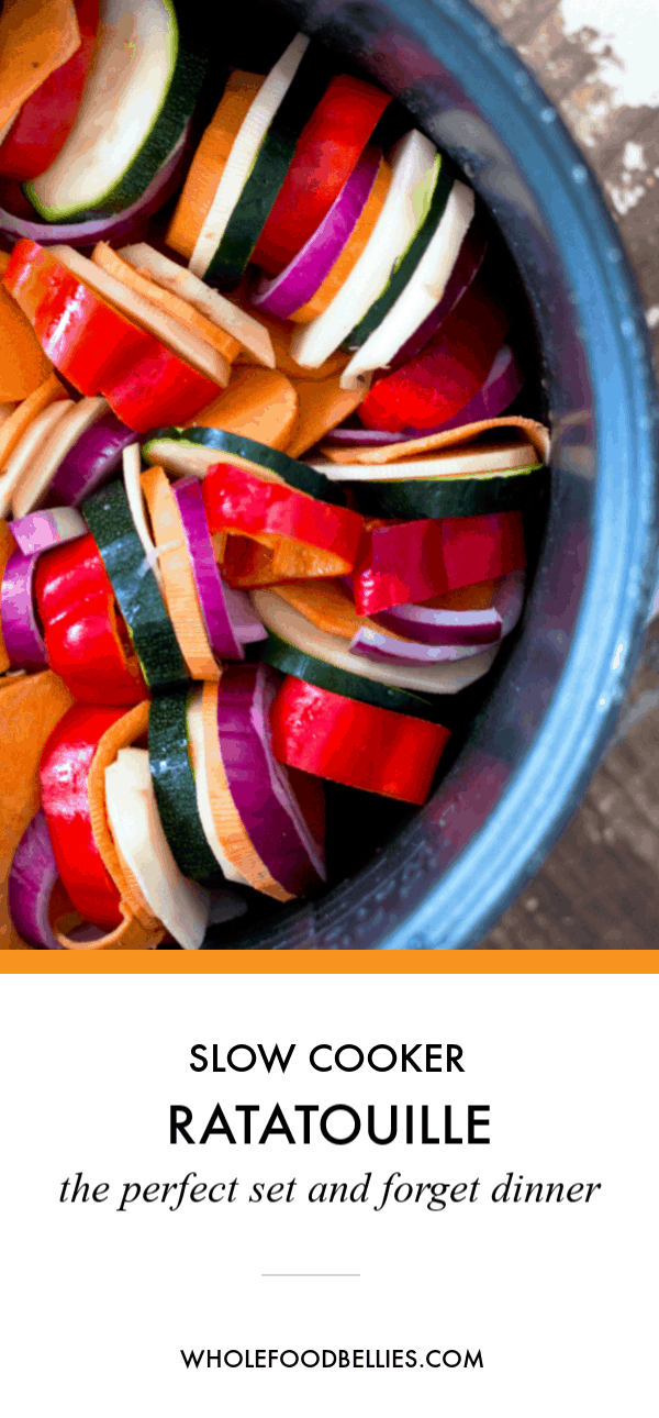 The Perfect Slow Cooker Ratatouille Recipe is easy to put together, jam packed full of seasonal vegetables cooked just right, and oh so comforting during those cold winter months. #slowcookerratatouille #slowcookerratatouillerecipe #ratatouillerecipeeasy #ratatouillerecipe