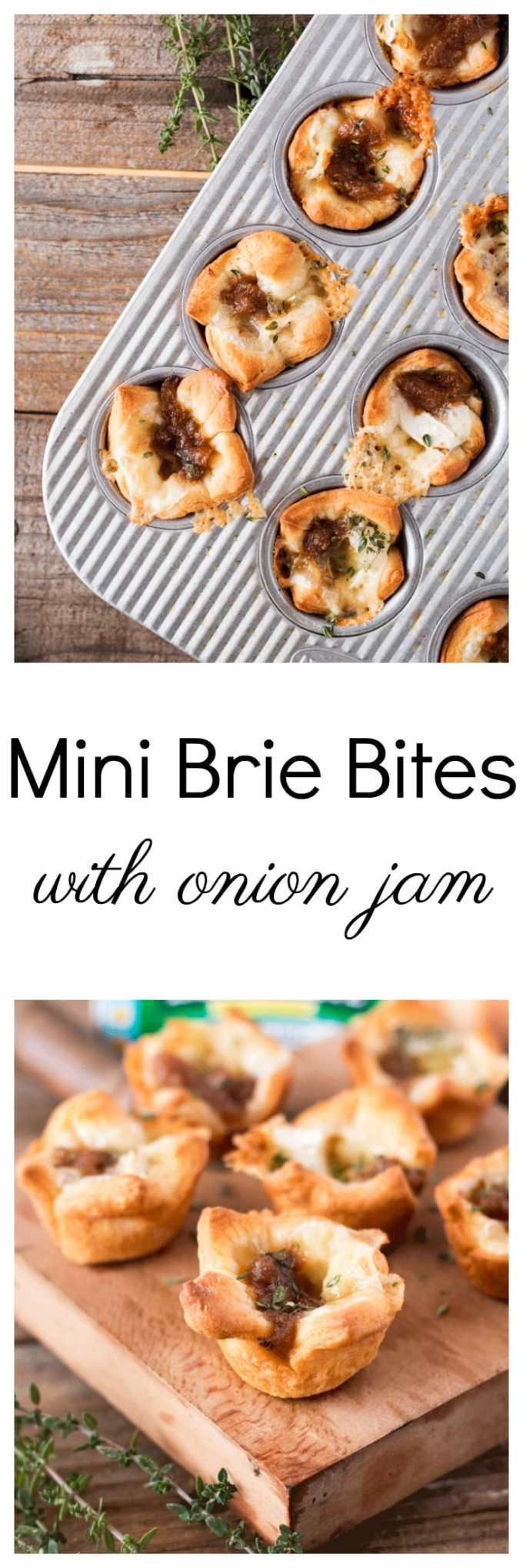 You are going to just love these Mini Brie Bites with Onion Jam. They're cute, easy to handle, bite into, and serve at a party.Each bite features a mini-size portion of creamy brie, wrapped in flaky crescent roll and adorned with a little dollop of onion jam. That's it. Bake and serve just like that – guests will absolutely be impressed. #holidaybaking #appetizer #lastminuteappetizer