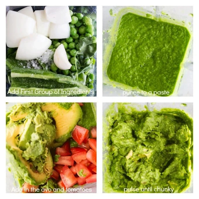Green pea Guacamole made in the blender