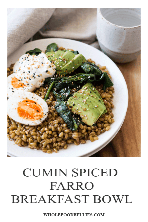 Be more intentional about what you put into your body first thing in the morning with this cumin-spicedfarro breakfast bowl which will keep all cylinders firing all morning. A combination of nutty farro, smokey spices, a perfectly gooey egg, creamy avocado, and wilted spinach will have you jumping out of bed excited to start the day. #breakfastbowl #breakfastrecipe #farro #farrorecipe #instantpot #breakfast