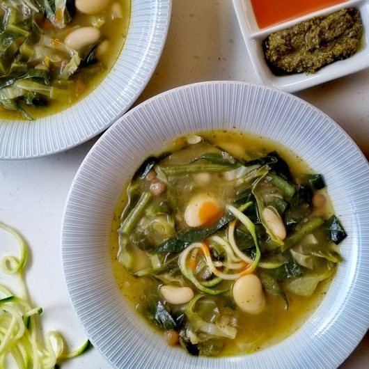 Greens, Beans and Pesto Soup