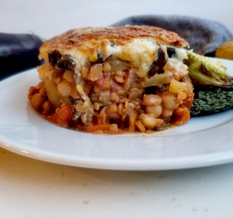 This veggie lentil and chickpea moussaka has layers of delicious lentil and chickpea stew, potatoes and aubergines, topped with a cheesy white sauce, you will not be disappointed.