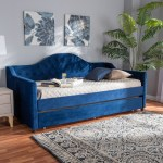 Perry Modern Blue Velvet Tufted Sofa Daybed Frame With Pull Out Guest Trundle Ebay