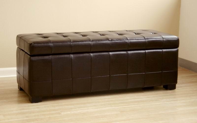 black full leather storage bench