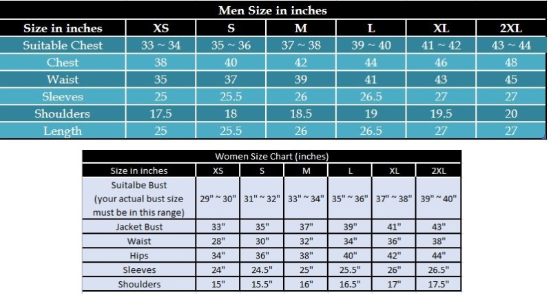 Size Chart Inches Leather Jacket