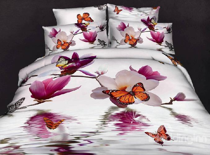 100 Cotton Butterfly Loving Gorgeous Flowers Reactive