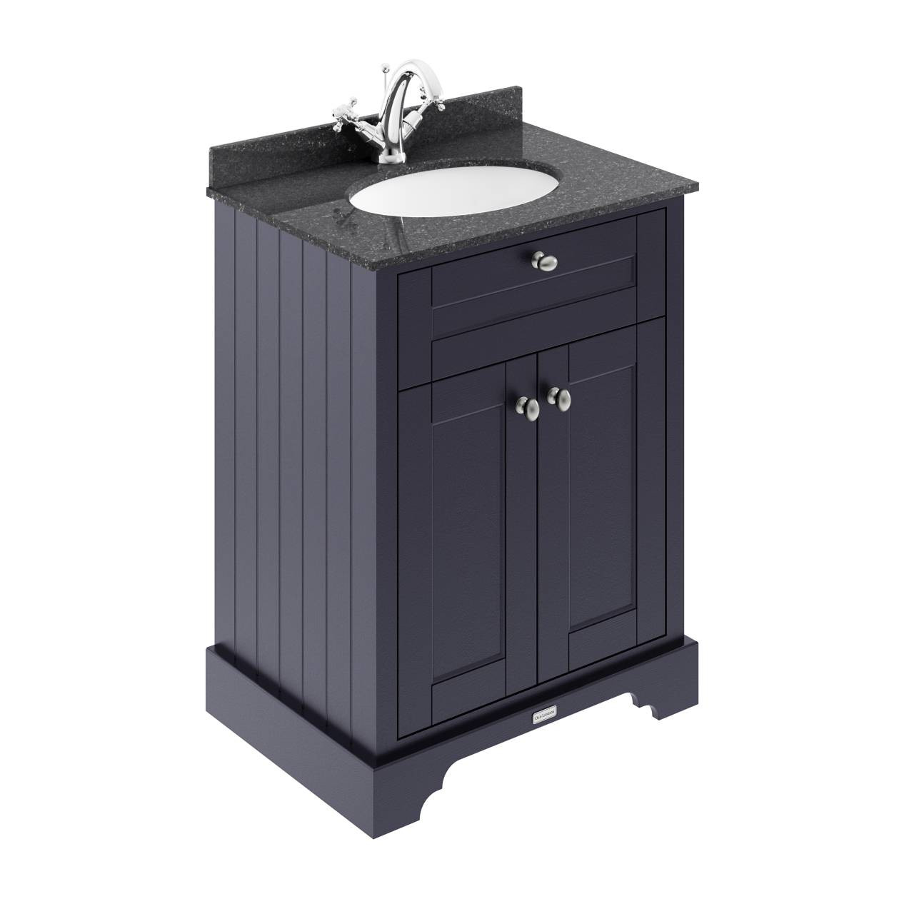 old london twilight blue 600mm 2 door vanity unit with black marble top and basin with 1 tap hole lof321