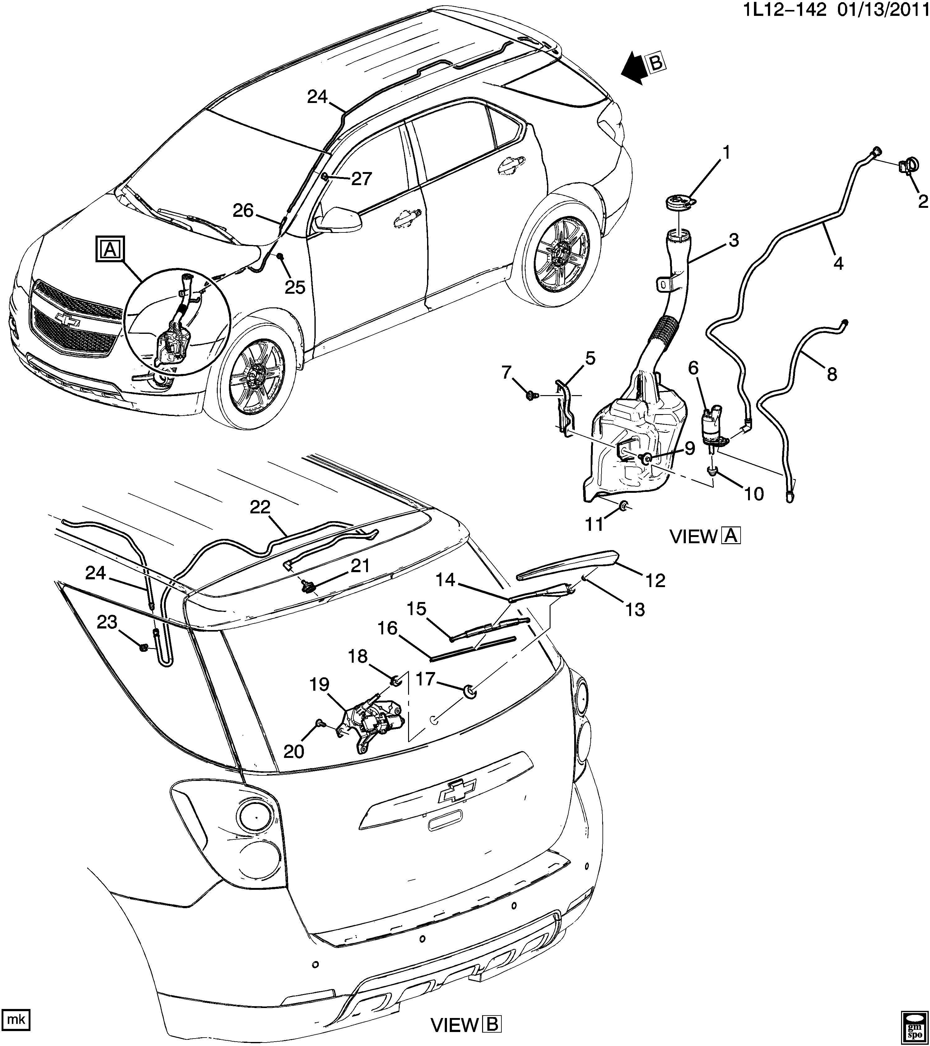 Chevrolet Equinox Motor Rear Window Wiper Motor R Wdo