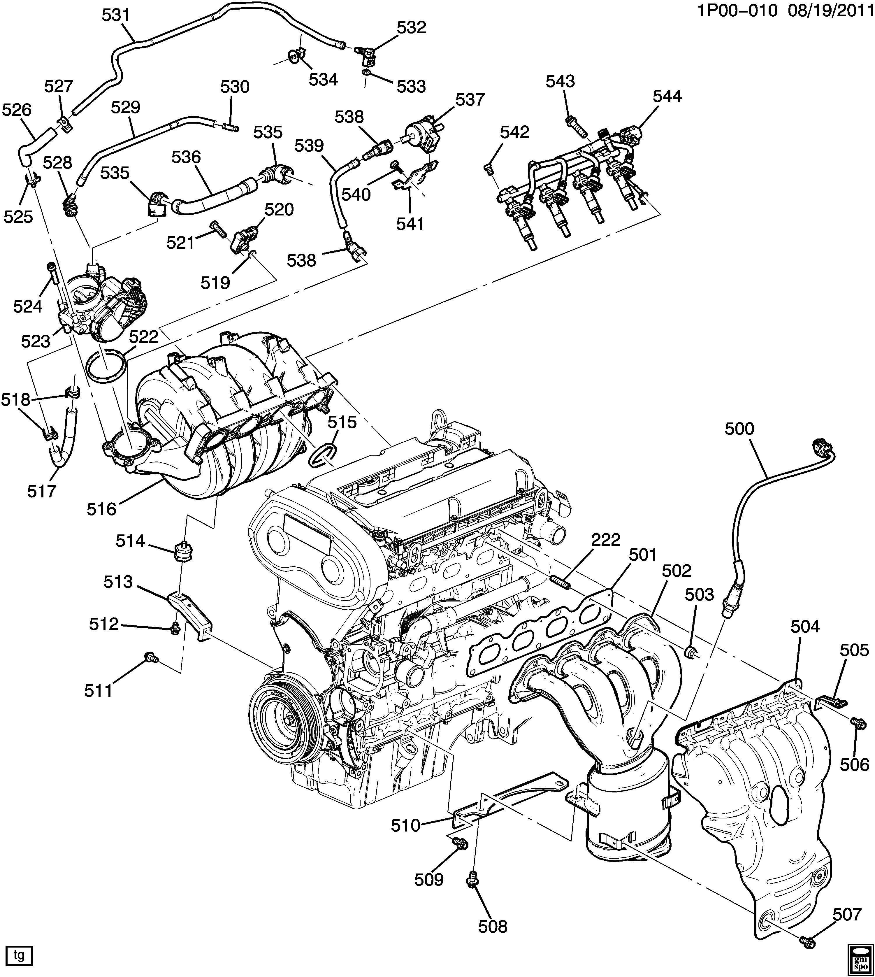 Chevrolet Cruze Hose Throttle Body Coolant Supply Hose