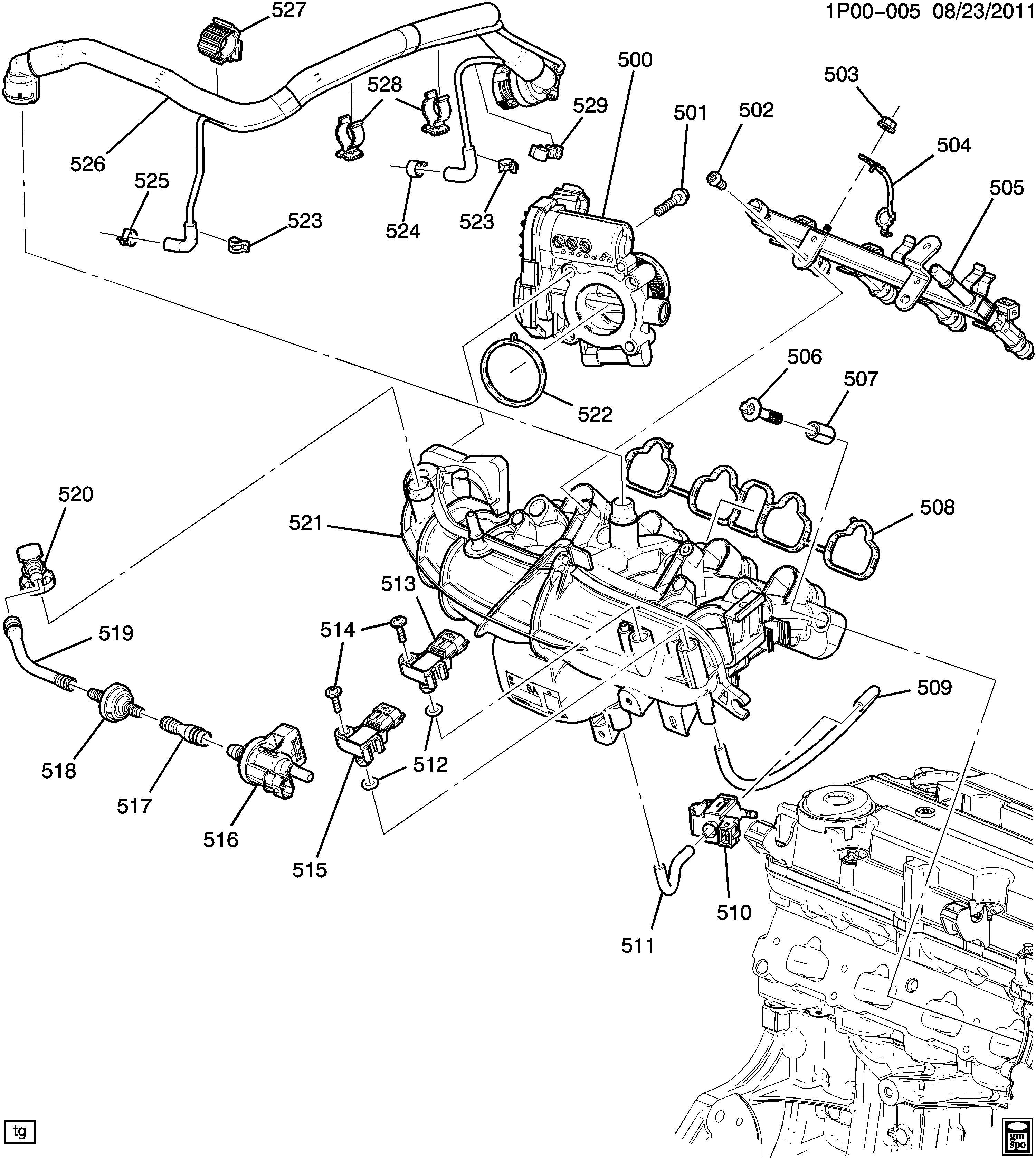Chevrolet Cruze Manifold Engine Fuel Intake Manifold