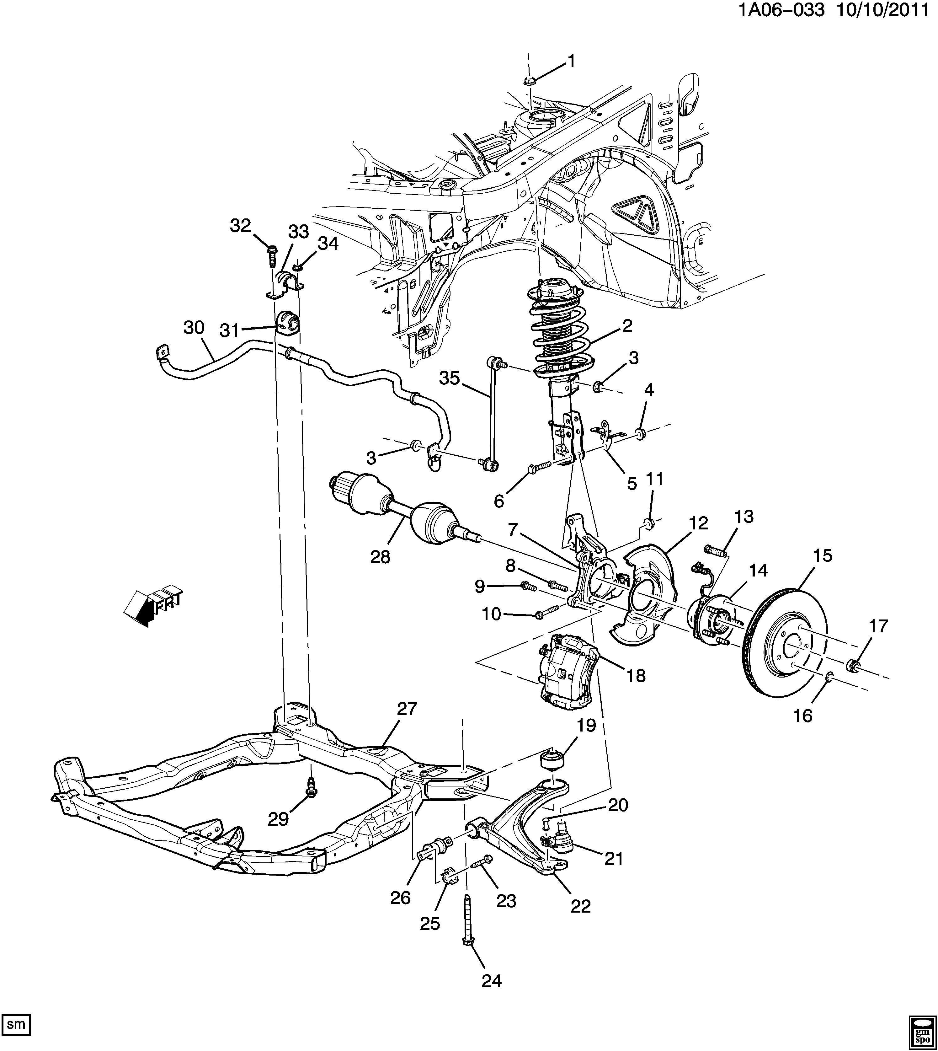 Chevrolet Cobalt Engine Cradle Bolt Front Center