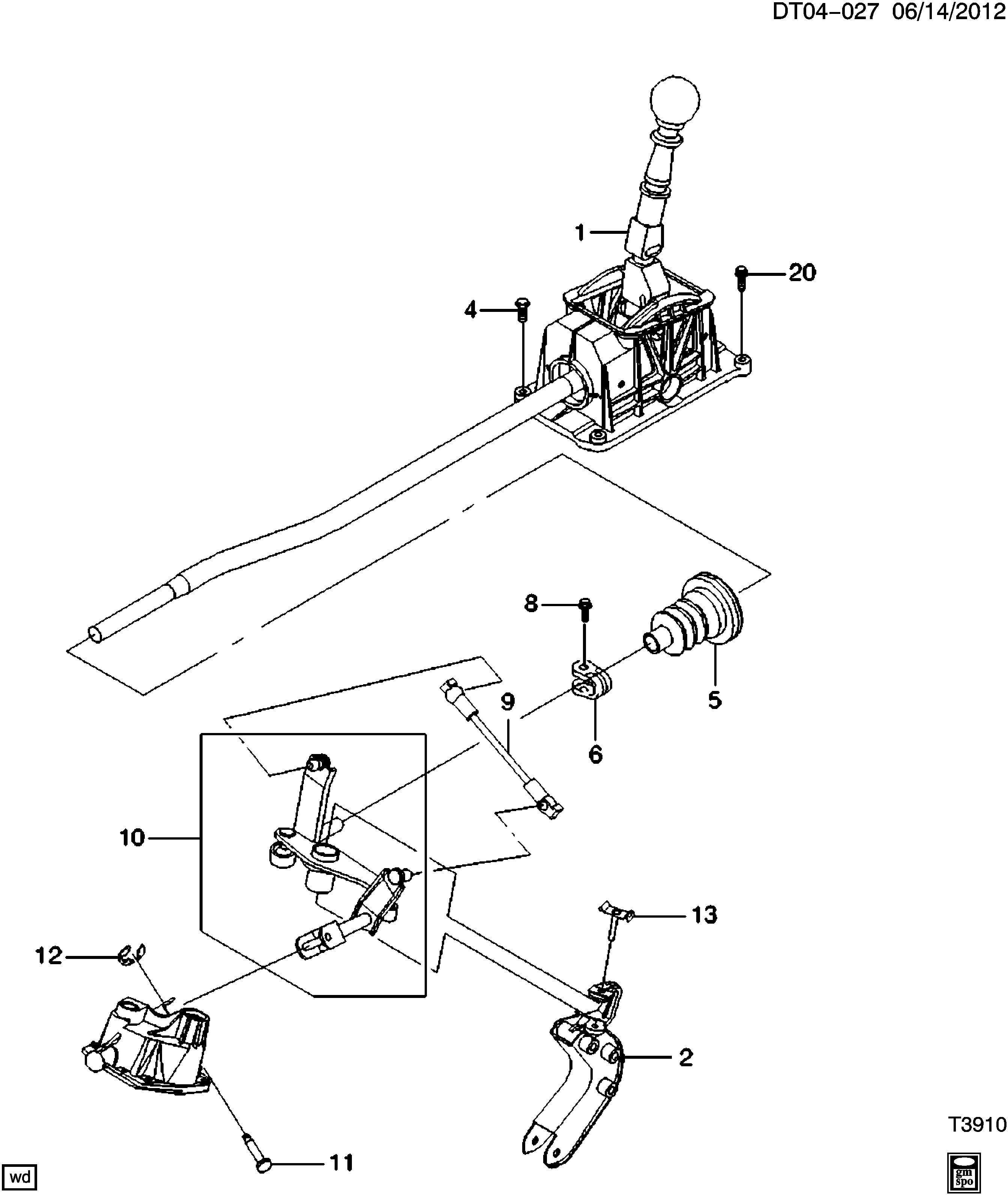 Chevrolet Aveo Lever Transmission Shift Shaft Lever Rod