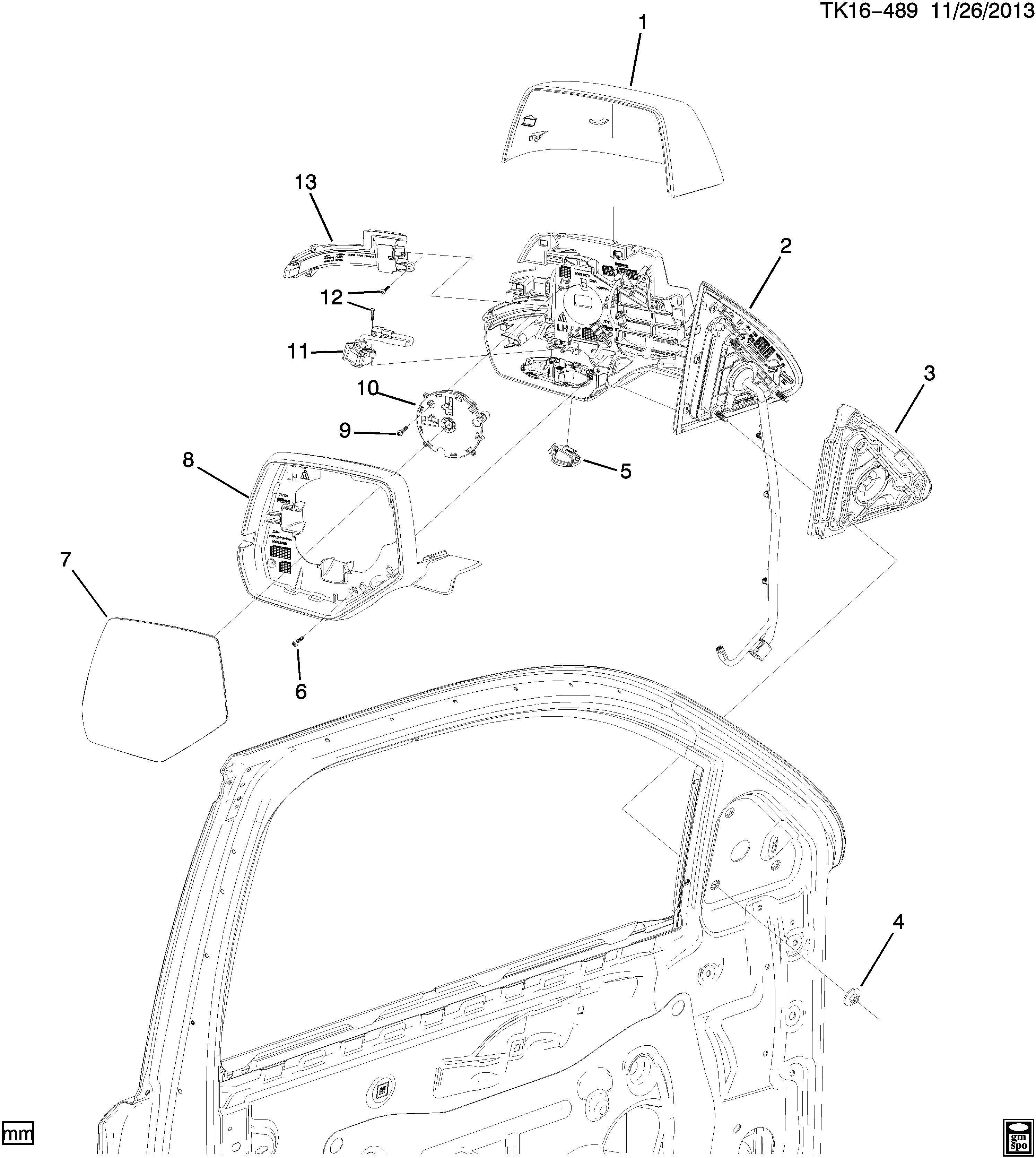Chevrolet Tahoe Actuator Rear View Mirror Actuator O S
