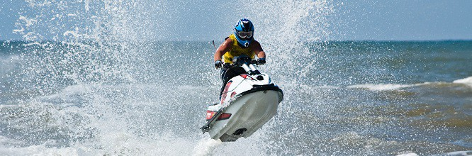 extreme jet-sk watersports with big waves