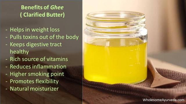 Ghee (clarified butter) has good/healthy fats and has numerous benefits. Helps in healthy digestion, Weight Loss, reduces inflammation, removes toxins, moisturizes body