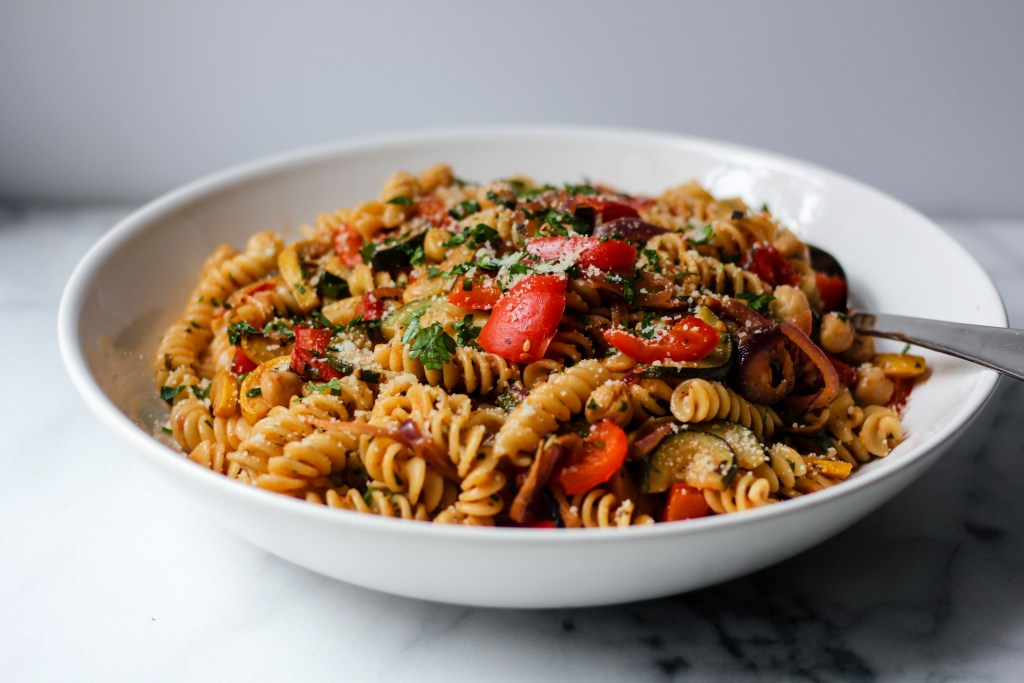 Pasta with Balsamic-Roasted Summer Vegetables, Chickpeas, and Herbs | wholesomefamilykitchen.com