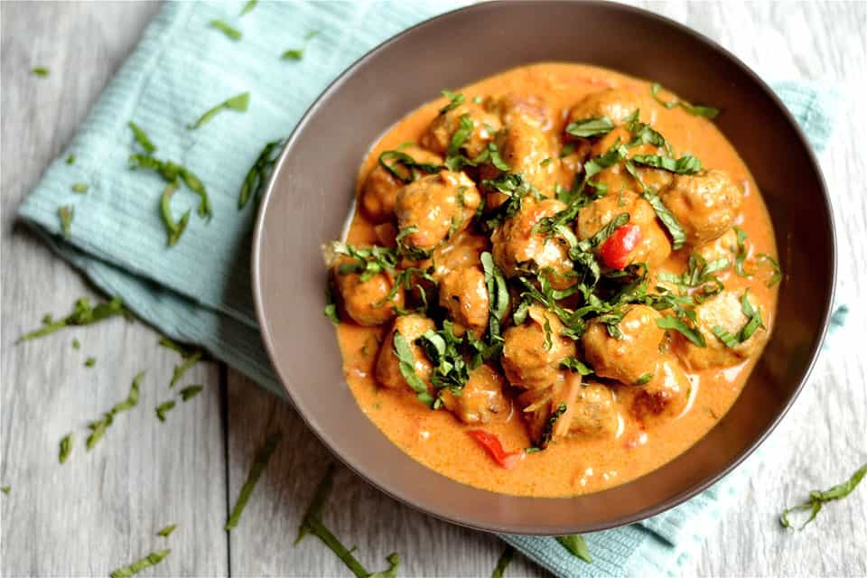 Thai Coconut Red Curry Turkey Meatballs