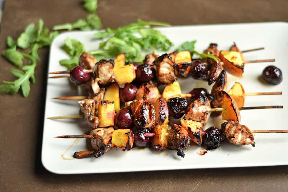 Grilled Balsamic Chicken, Cherry, and Peach Kabobs 2