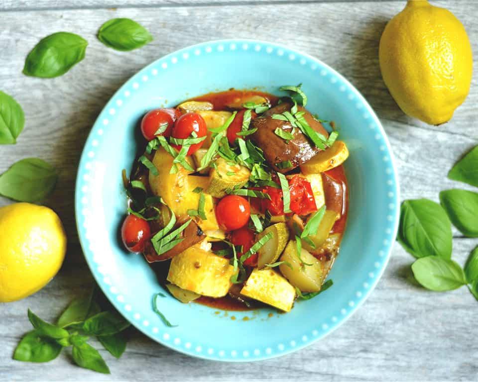 Slow Cooker Lemon Basil Ratatouille