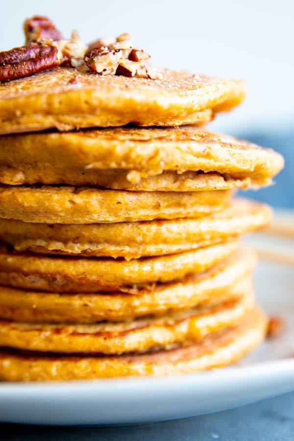 Pumpkin Oatmeal Pancakes | THM E, Low Fat, Gluten Free
