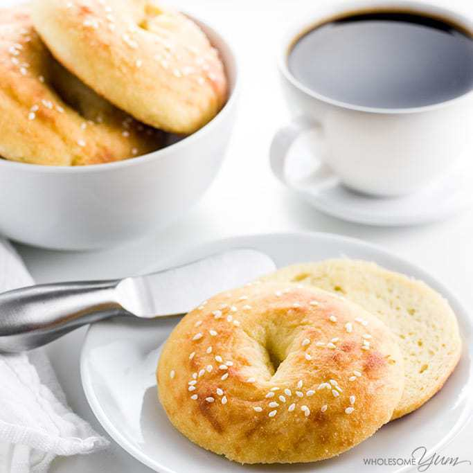 These gluten-free, keto low carb bagels with almond flour need just 5 ingredients. They are easy, chewy, and delicious!