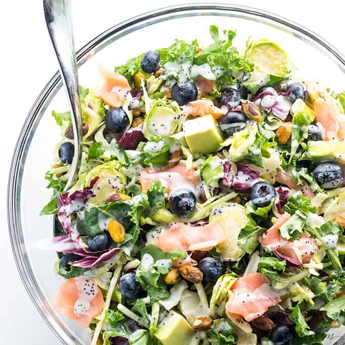 Salmon Kale Salad with Creamy Lemon Vinaigrette
