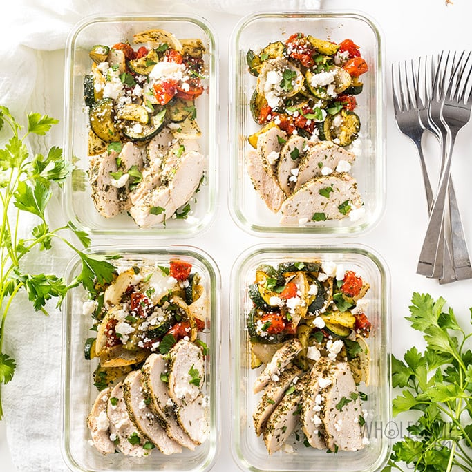 low carb greek chicken meal prep bowls recipe