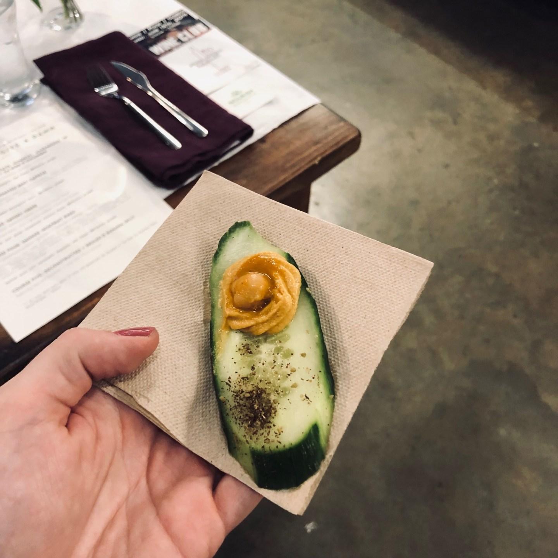 vegan cucumber with sweet potato hummus