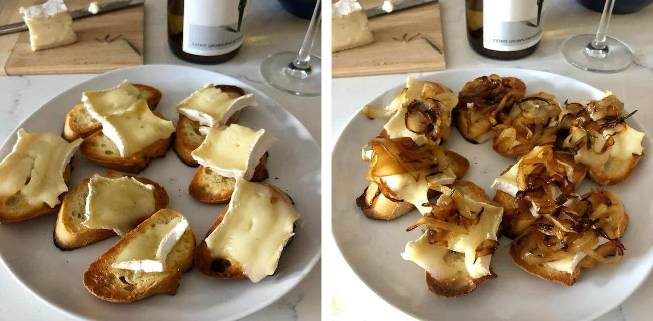 melted brie and caramlized onions