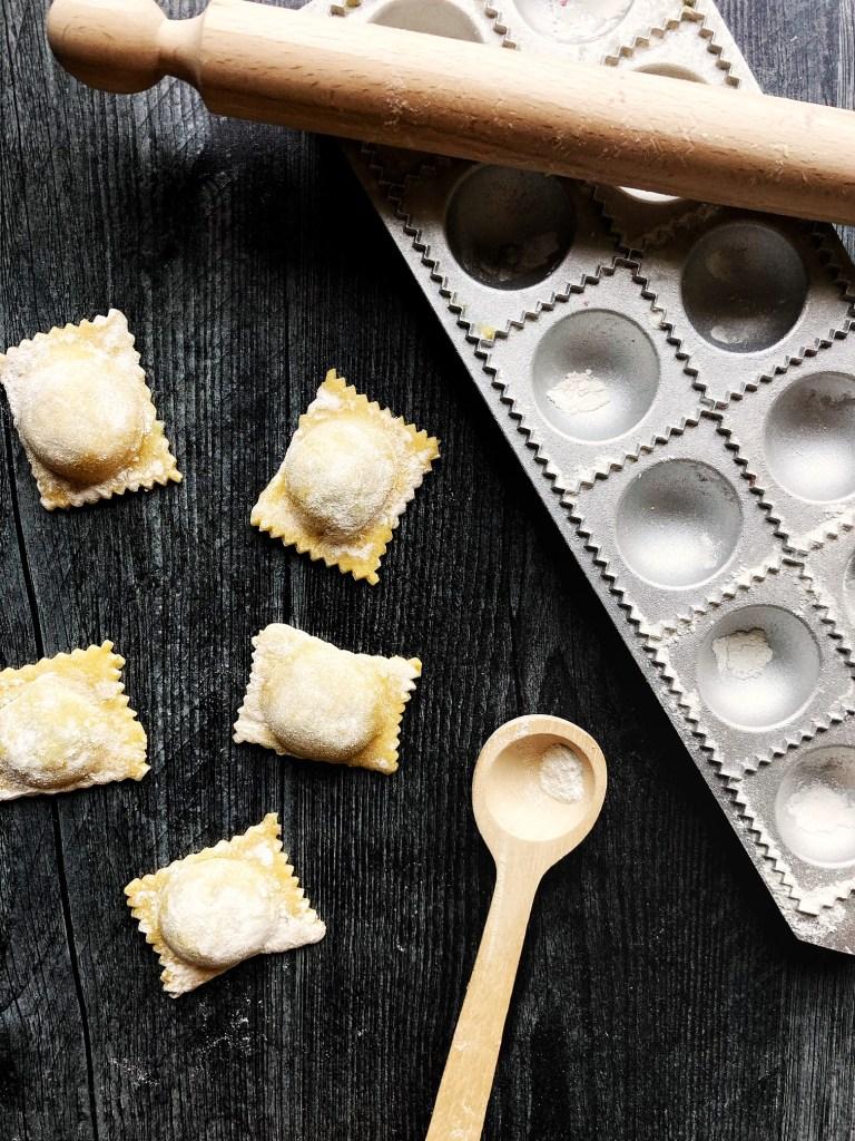 pasta with ravioli mold