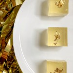 champagne jell-o shots with edible gold leaf