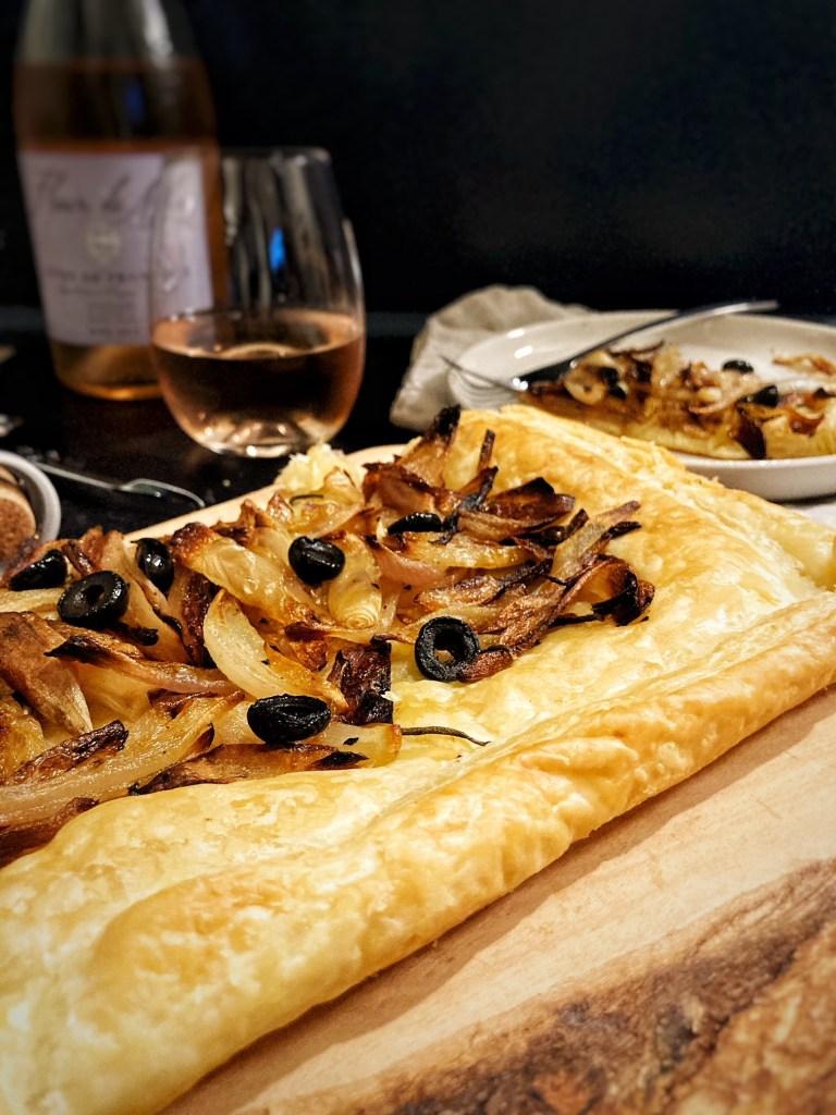 savory onion tart with rose wine