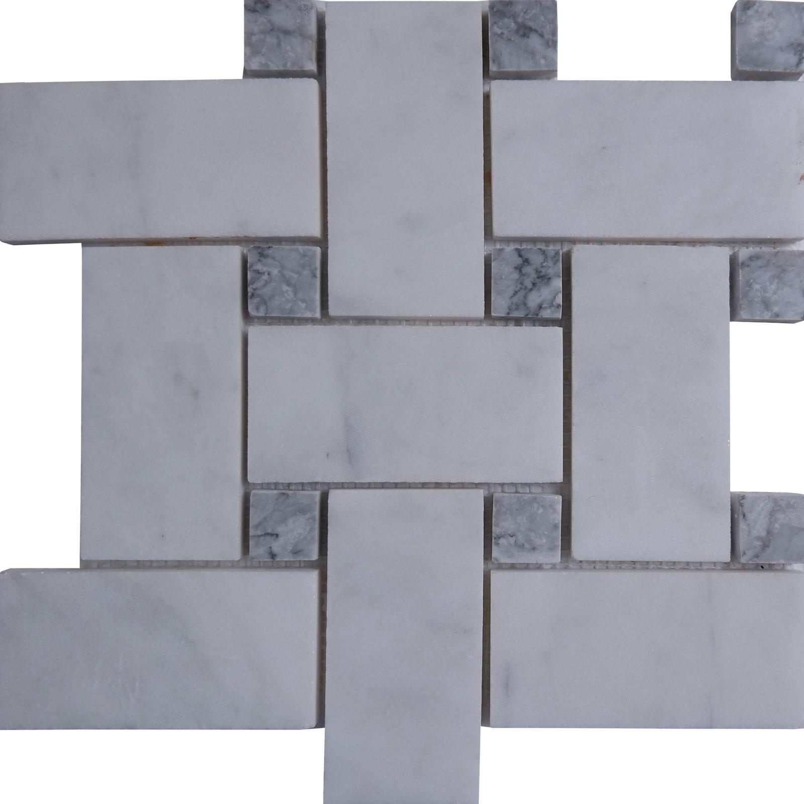 large basketweave carrara tile