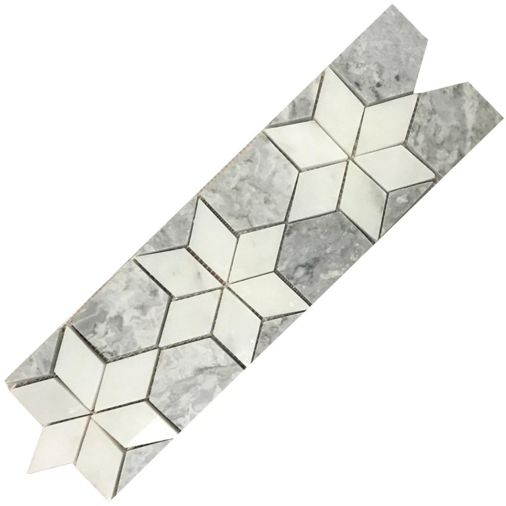 star border mosaic tile bianco carrara light grey