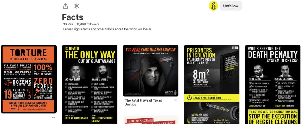 Amnesty International's infographics on Pinterest