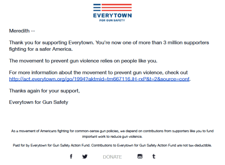 Everytown for Gun Safety Welcome Email