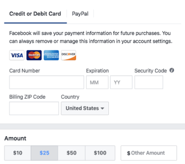 Facebook Donate Button Form