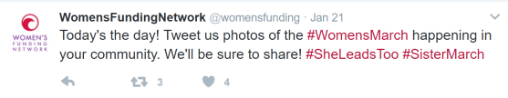 Womens Funding Network tweet about the Womens March