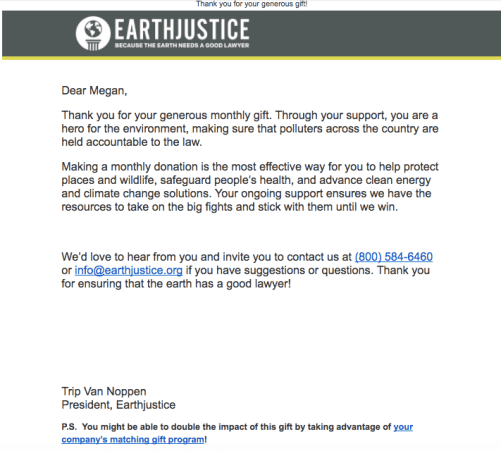 earth justice donor thank you email