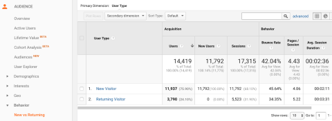 screenshot of google analytics visitors