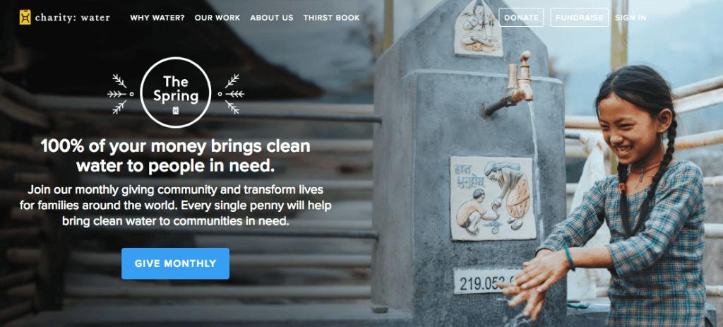 charity: water's header menu