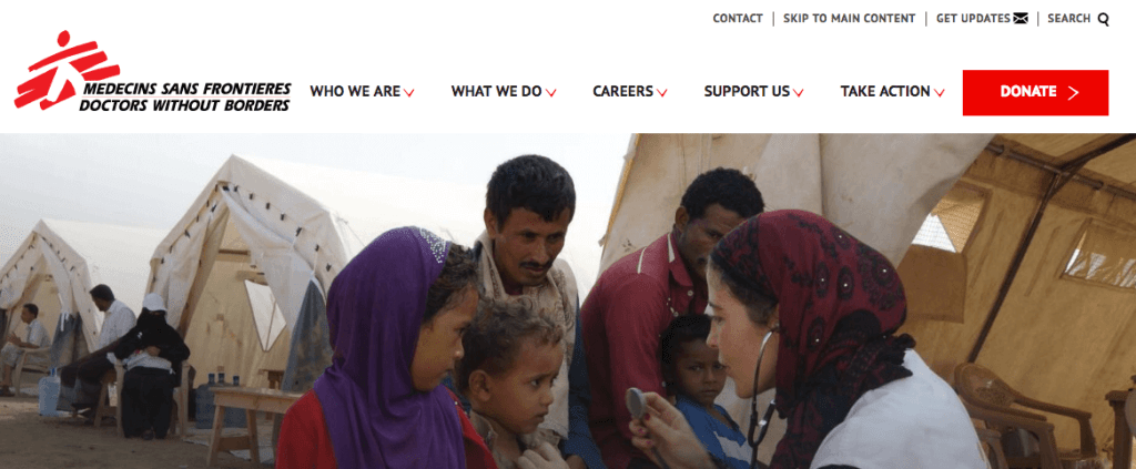 Doctors Without Borders website nav