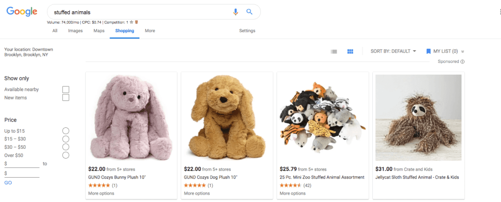"""The competitive, fluffy world of Google Shopping ads for keyword """"stuffed animals"""""""